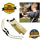 2-Pack Handmade Wooden Bow Rubber Tip Arrow Quiver Set Archery Outdoor Play Toy