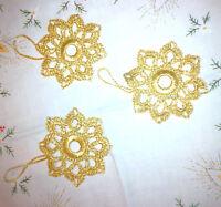3 St. gehäkelte Weihnachtssterne Christbaum Handarbeit Vintage