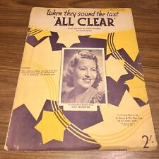 """Vintage Sheet Music 1941 """"When They Sound The Last 'ALL CLEAR'"""""""