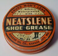 Vintage 1930s GRAPHIC SHOE GREASE TIN NOURSE OIL COMPANY KANSAS CITY MISSOURI KC