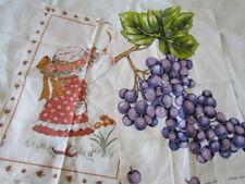 Lot of 2 Unused Italian Linen Show tea kitchen Towel Vintage Print Grape New