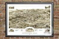 Old Map of Anniston, AL from 1887 - Vintage Alabama Art, Historic Decor
