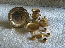 Miniature Brass Doll House Accessories Plate, Urn, Coffee Grinder, 7pc cake set