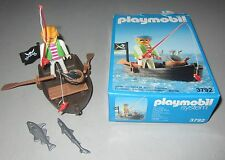 Retired 1990 Playmobil 3792 Fishing Pirate Row Boat Playset with Box