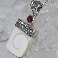 Shiva eye Schmuckanhänger Shivas Auge Schutzamulett 925 Sterlingsilber Granat