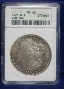 1921 D Morgan Silver Dollar ANACS MS62 VAM-1AA