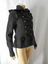 Ann Taylor LOFT Cadet Jacket Small charcoal gray double breasted 100% Wool NWT