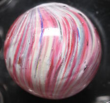 """GERMAN MARBLE HANDMADE END OF DAY MARBLE RED WHITE AND A LITTLE BLUE BIG 0.977"""""""