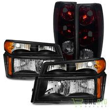 For 04-12 Colorado/Canyon Black Headlights + Black Smoked Tail Lights Combo