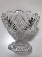 CRYSTAL PEDESTAL BOWL W/ SCALLOPED EDGES AND STAR PATTERN