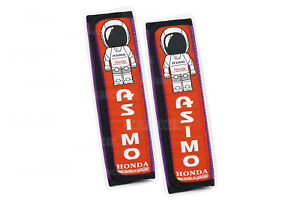 1Pair Asimo Purple Suede Fabric Seat Belt Cover Embroidery Logo Shoulder Pads