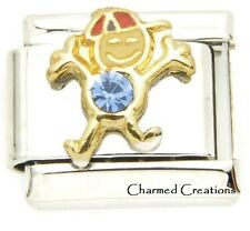 9mm Italian Charm March Boy Stainless Link Birthstone Birthday Kid Son Blue