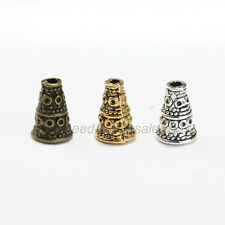 Wholesale 50 pcs Tibetan Antique Silver Cone Bead Caps End Beads Findings 9/10mm
