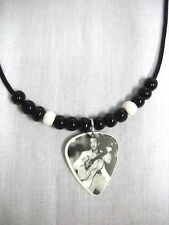 BLACK & WHITE SINGING ELVIS PRESLEY PHOTO GUITAR PICK PENDANT ADJ BEAD NECKLACE