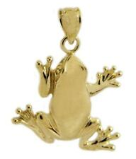 New 14k Yellow Gold Frog Pendant
