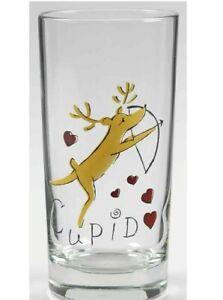 Pottery Barn Reindeer Cupid Glass Tumbler 10 Oz. Christmas Retired