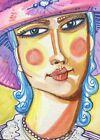 Lady Woman Face Figure ACEO ATC original art card miniature collectible Painting
