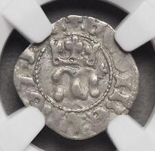 HUNGARY. Queen Maria Silver Denar, 1382-1395, NGC AU55