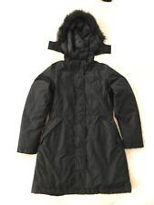 The North Face Hyvent Down Coat Parka Black Faux Fur Trim Hooded Winter Women M
