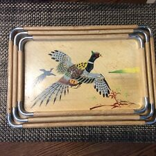 Set of 3 Asian Wood & Chrome nesting trays Hand Painted Birds Made in Japan