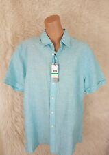Perry Ellis Men's Size L Short Sleeve Button Down Shirt Turquiose Linen Blend G