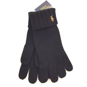 POLO RALPH LAUREN Mens Merino Wool Cuff Gloves One Size Black (MSRP $55)