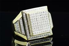 Mens 10K Yellow Gold Round White Diamond Big Square Face Pinky Ring Band .64 ct.
