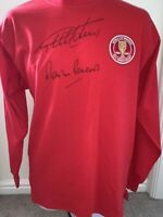 Signed Geoff Hurst Martin Peters England Autograph Retro 1966 World Cup Shirt