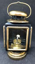 Vtg Metal Gold Blk Oil Kerosene Carriage Lantern Lamp Hong Kong Hurricane Train