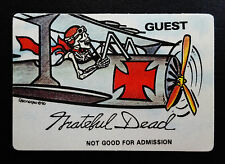 Grateful Dead Backstage Pass 1990 Airplane Flying WW Ace Red Baron Bi Plane Fly