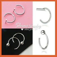 925 Sterling Silver Ball Bar Stick Ear Nose Stud Open Ring Hoop Earring Piercing