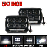 Pair DOT 7''x6'' LED Headlight Hi-Lo Beam Halo DRL Bulb For Jeep XJ H6014/H6054