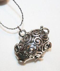 Adorable Sculpt Swirled 3-D Pig Piggie Figural Silvertone Pendant Necklace ++++