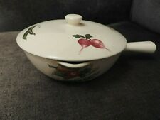 Vintage 60s Retro EGERSUND Norway ceramic lidded pan/dish - vegetables pattern