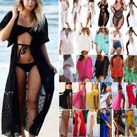 Damen Bikini Cover Up Vertuschung Strandkleid Sommer Minikleid Cardigan Baden