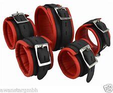 Neu Abschließbar Leder Fesseln Set Gepolsterte Handfessel+Fussfessel+Halsband