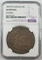 1807-PTS PJ Bolivia 8 Reales Silver Coin NGC AU Details Stained