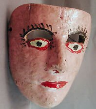 ORIGINAL FEMALE COLONIAL DANCED MEXICAN WOOD PINK MASK vieja fresno ETHNIX