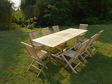 Salon de jardin en teck ensemble table AMARA + 8 chaises pliantes JALANG