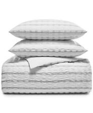 Charter Club Damask Designs Seersucker Full / Queen Duvet Cover Set White $250
