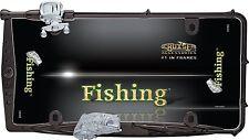 Premium Custom Fishing Black Fish & Rod License Plate Tag Frame for Car-Truck