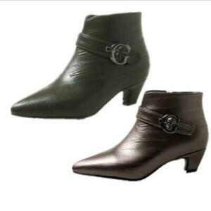 New Women Buckle Ankle Boots Kitten Heel Pointy Toe Casual Shoes 34-51 52 53 54