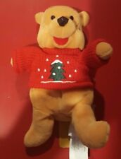 "a Disney X'Mas Tree Sweater Winnie the Pooh Bean Bag 8"" Red Holiday Christmas"