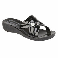 Womens Ladies Low Wedge Heel Slip on Summer Sandals Beach Party Shoes Size 3-8 Black UK 4 / EU 37