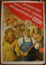 Soviet Russian Original POSTER  Unity and brotherhood of workers USSR propaganda