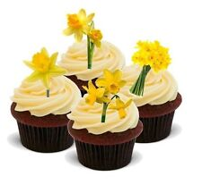 SPRING DAFFODIL FLOWER MIX 12 STANDUPS Edible Cake Toppers Birthday Easter Thank