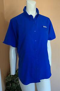 Columbia Omni-Shade Hiking Fishing Outdoor Travel Shirt Women's Size M Blue EUC