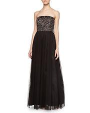 AIDAN MATTOX Black Brown Strapless Beaded Bustier Ball Gown 8 $440
