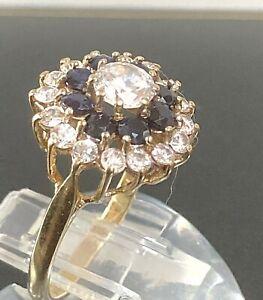 Stunning Sparkling 9ct Yellow Gold Sapphire Ring Uk Size O Hallmarked
