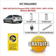 KIT TAGLIANDO 4 FILTRI BMW 320Td/d/Cd Compact E46 110KW 150HP - 08/01->07/04